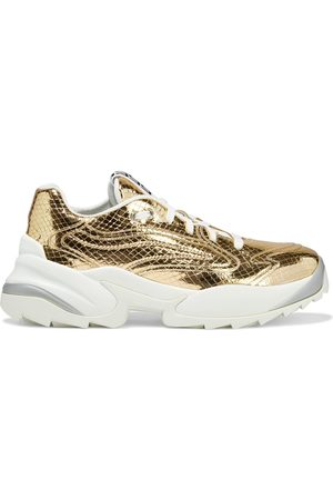 SERGIO ROSSI Women Trainers - Woman Sergio Extreme Metallic Snake-effect Leather Exaggerated-sole Sneakers Size 37