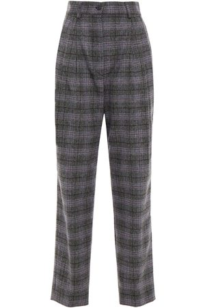 ALBERTA FERRETTI Woman Pleated Prince Of Wales Checked Wool Silk And Cashmere-blend Straight-leg Pants Gray Size 38