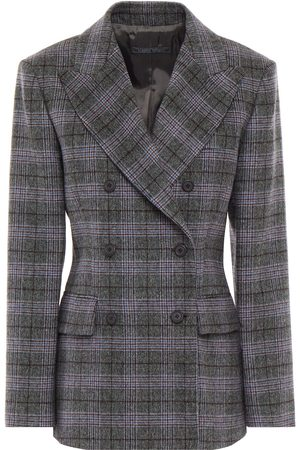 ALBERTA FERRETTI Woman Double-breasted Prince Of Wales Checked Wool Silk And Cashmere-blend Blazer Gray Size 38