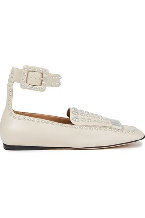 SERGIO ROSSI Women Loafers - Woman Studded Leather Loafers Ivory Size 34.5
