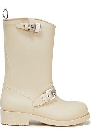 SERGIO ROSSI Women Snow Boots - Woman Buckled Rubber Rain Boots Ecru Size 35