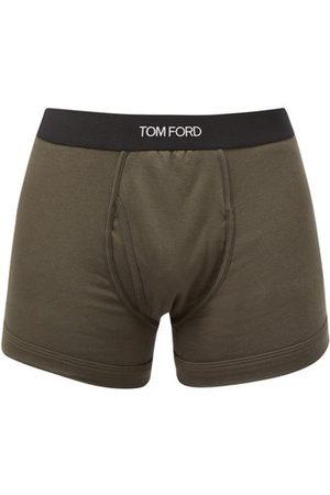 Tom Ford Men Briefs - Logo-jacquard Cotton-blend Jersey Trunks - Mens - Dark Khaki