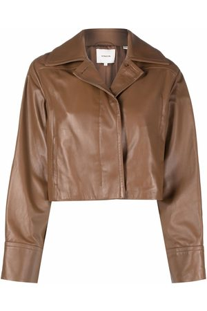 Vince Cropped long-sleeve leather jacket