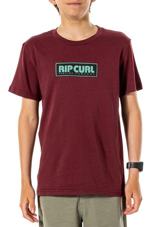 Rip Curl Boys Short Sleeve - Surf Revival Decal Boys Short Sleeve T-Shirt - Maroon