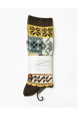 ANONYMOUS ISM Anonymous Ism Multi Pattern Jacquard Crew Socks - Moss ONE SIZE, Colour: Moss