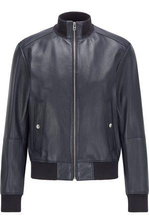 HUGO BOSS NAFAN Dark Bomber-Style Leather Jacket In Regular Fit 50456274