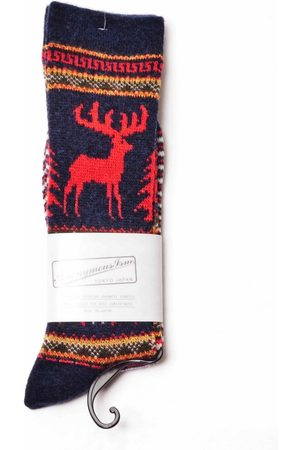 ANONYMOUS ISM Anonymous Ism Wool Deer Snow JQ Crew Socks - Navy ONE SIZE, Colour: Navy