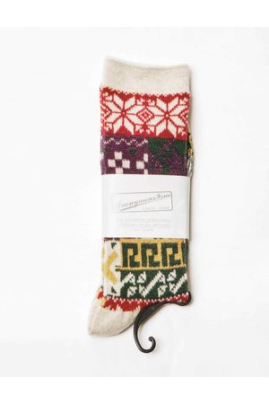 ANONYMOUS ISM Anonymous Ism Multi Pattern Jacquard Crew Socks - Oatmeal ONE SIZE, Colour: Oatmeal