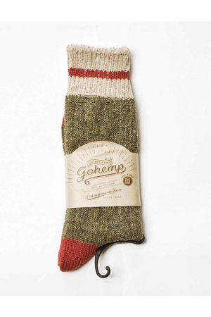 ANONYMOUS ISM Anonymous Ism Go Hemp Cable Line Crew Socks - Olive ONE SIZE, Colour: Olive
