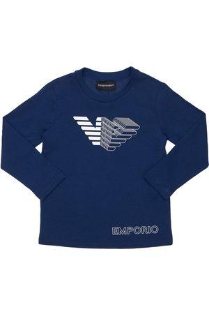 EMPORIO ARMANI Boys T-shirts - Logo Print L/s Cotton Jersey T-shirt