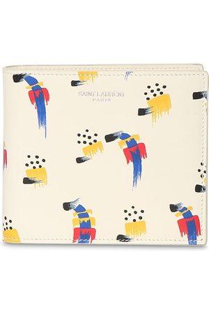 SAINT LAURENT Men Purses & Wallets - Stroke Print Leather Wallet