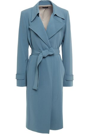 THEORY Women Trench Coats - Woman Belted Crepe Trench Coat Slate Size L