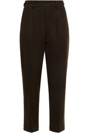 Vince Women Trousers - Woman Pleated Wool-blend Tapered Pants Army Size L