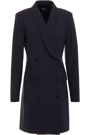 THEORY Woman Double-breasted Pinstriped Wool-blend Blazer Navy Size 0