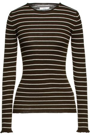 Vince Woman Striped Ribbed-knit Sweater Dark Size L