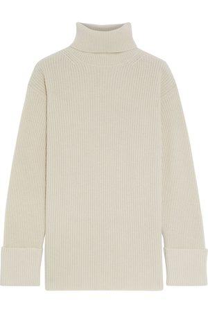 IRIS & INK Women Turtlenecks - Woman Élise Ribbed Cashmere Turtleneck Sweater Ecru Size L