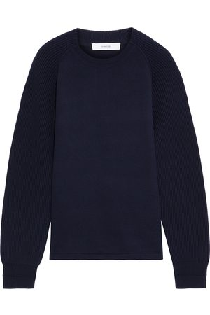Vince Women Sweatshirts - Woman Ribbed Knit-paneled French Cotton-terry Sweatshirt Navy Size L