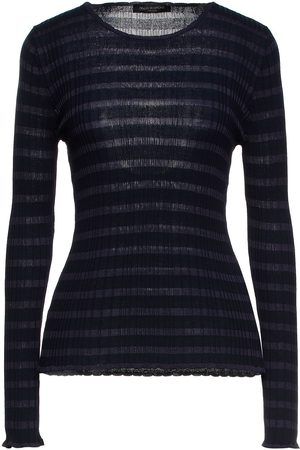 PIAZZA SEMPIONE Woman Striped Ribbed-knit Sweater Navy Size 38