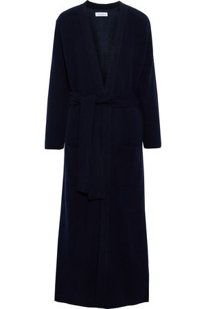 NAADAM Woman Belted Ribbed-knit And Cotton And Cashmere-blend Fleece Cardigan Navy Size L