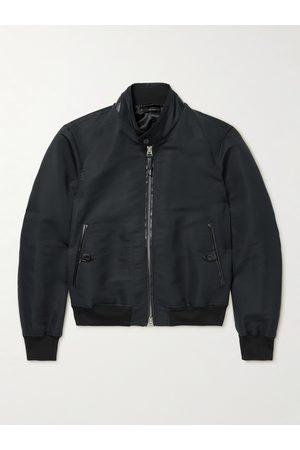 Tom Ford Men Leather Jackets - Leather-Trimmed Cotton and Silk-Blend Poplin Harrington Jacket