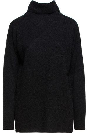 Vince Women Turtlenecks - Woman Mélange Wool And Cashmere-blend Turtleneck Sweater Charcoal Size L
