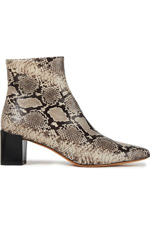 Vince Woman Snake-effect Leather Ankle Boots Animal Print Size 10
