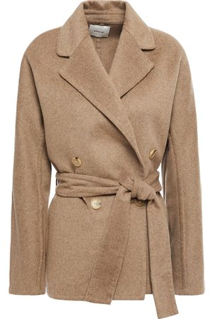 Vince Women Coats - Woman Brushed Mélange Wool-blend Jacket Mushroom Size L