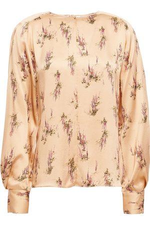 Vince Women Blouses - Woman Floral-print Silk-satin Blouse Neutral Size L