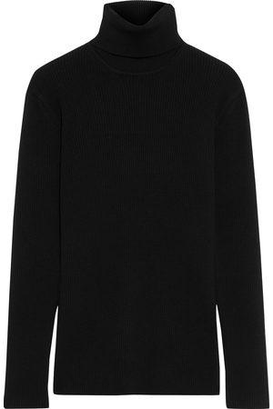 IRIS & INK Woman Floriane Ribbed Merino Wool-blend Turtleneck Sweater Size L