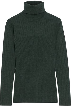 IRIS & INK Woman Éloise Ribbed Merino Wool-blend Turtleneck Sweater Forest Size L