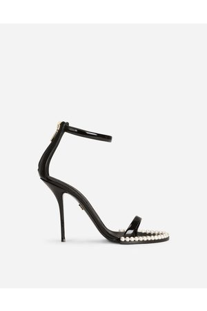 Dolce & Gabbana Women Wedge Sandals - Sandals and Wedges - Patent leather sandals with pearls female 36