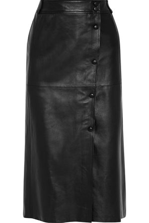 IRIS & INK Women Leather Skirts - Woman Béatrice Wrap-effect Leather Midi Skirt Size 10