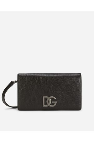 Dolce & Gabbana Collection - Matte nappa leather wallet with strap and crossover DG logo male OneSize
