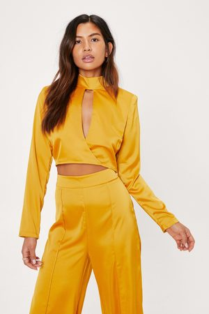 NASTY GAL Womens Satin Shoulder Pad Cut Out Cropped Top