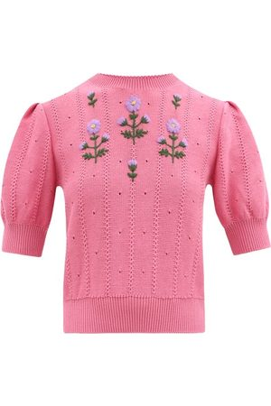 Gucci Floral-embroidered Cotton-blend Sweater - Womens