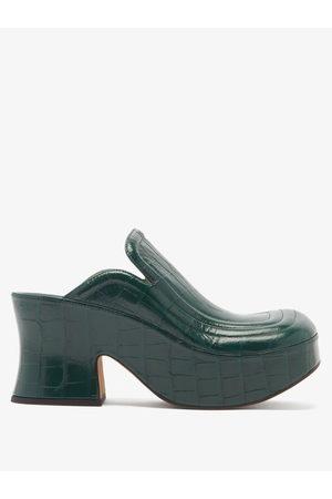 Bottega Veneta Wedge Crocodile-effect Leather Clog Mules - Womens