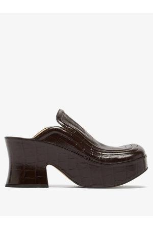 Bottega Veneta Women Wedges - Wedge Crocodile-effect Leather Clogs - Womens