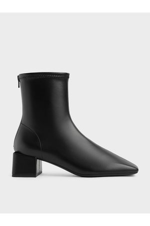 CHARLES & KEITH Women Ankle Boots - Block Heel Zip-Up Ankle Boots