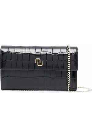 Maje Women Purses & Wallets - Crocodile-effect wallet on chain
