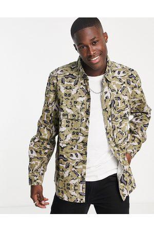 Topman Camo overshirt in khaki