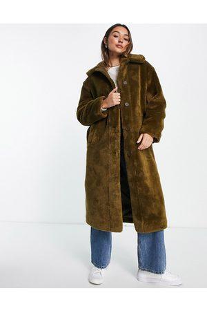 ASOS Borg button through coat in olive