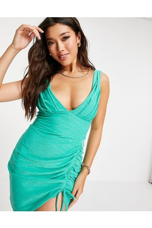 ASOS Broderie plunge side ruched mini dress in sage