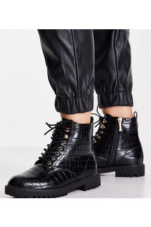 Miss KG Wide fit hannah lace up patent boots in