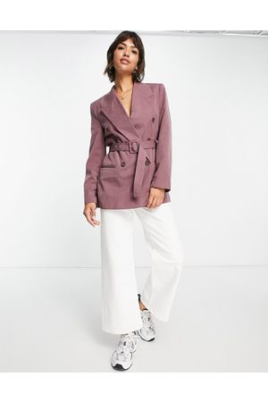 ASOS Belted double breasted blazer with peaked collar in dusty