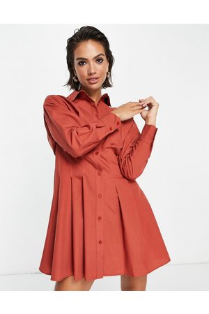 ASOS Cotton poplin gathered waist mini shirt dress in rust