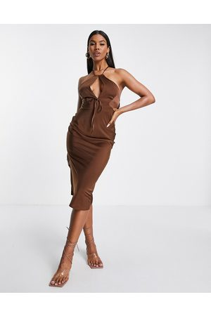 ASOS Halter satin midi dress with keyhole detail in chocolate