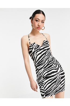 ASOS DESIGN Structured mini dress with lace up back and square neck in mono animal print-Multi