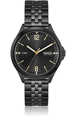 HUGO BOSS Black-plated link-bracelet watch with golden accents
