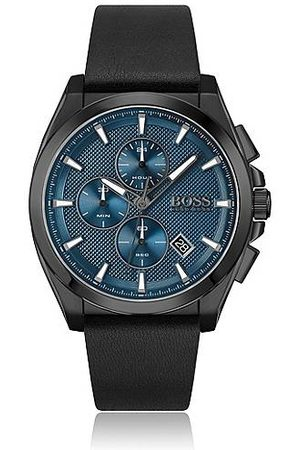 HUGO BOSS Black-plated chronograph watch with blue textured dial