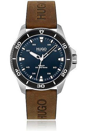 HUGO BOSS Blue-dial watch with logo-stamped leather strap